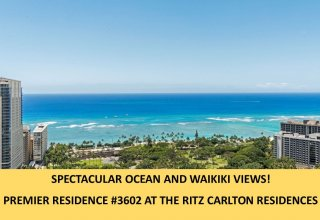 RITZ-CARLTON WAIKIKI    5-Star Ocean View Luxury Condo One Floor below Penthouse Level